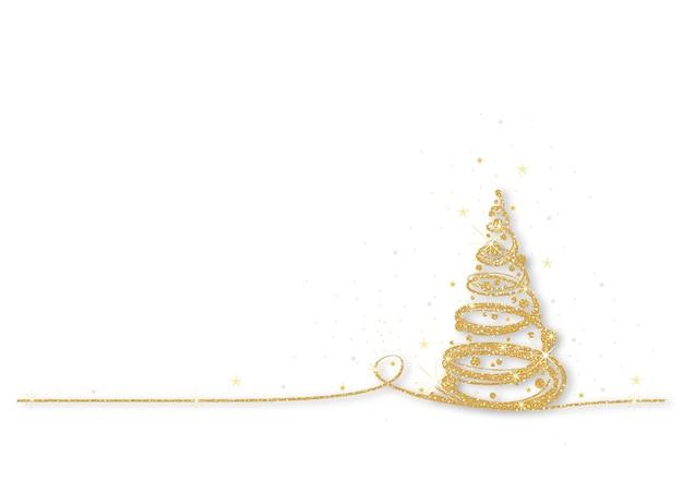 Albero di natale scintillante d'oro su sfondo bianco
