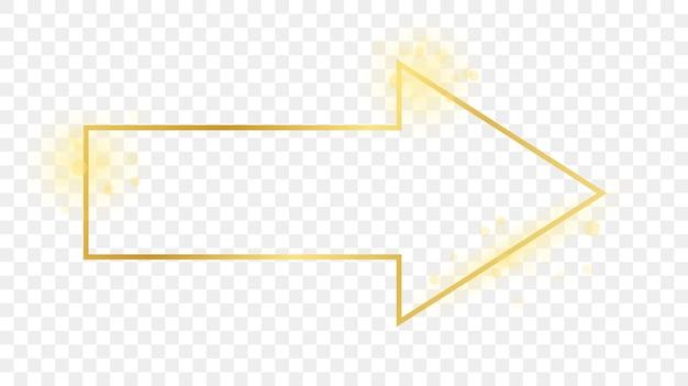 Cornice a forma di freccia incandescente oro isolata su sfondo trasparente. cornice lucida con effetti luminosi. illustrazione vettoriale.