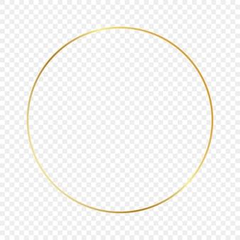 Cornice d'oro cerchio incandescente isolato su sfondo trasparente. cornice lucida con effetti luminosi. illustrazione vettoriale.