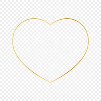 Cornice a forma di cuore incandescente oro isolato su sfondo trasparente. cornice lucida con effetti luminosi. illustrazione vettoriale.