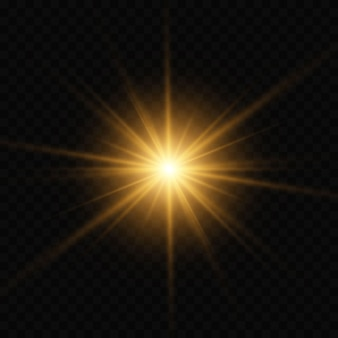 Scoppio di luce incandescente d'oro scoppiato con trasparente.