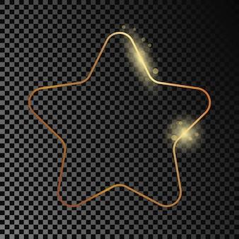 Cornice a forma di stella arrotondata incandescente oro isolata su sfondo trasparente scuro. cornice lucida con effetti luminosi. illustrazione vettoriale.