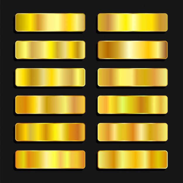 Sfumatura metallica della tavolozza di colori dorati dorati