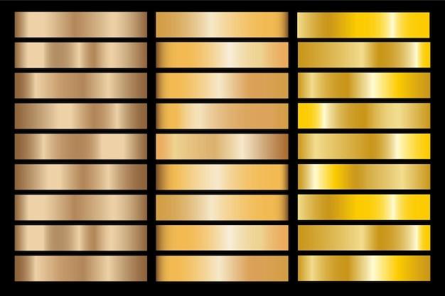Gradiente oro imposta sfondo icona texture illustrazione metallica per telaio, nastro, banner, moneta ed etichetta. modello senza cuciture di disegno dorato astratto realistico. elegante modello di luce e brillantezza