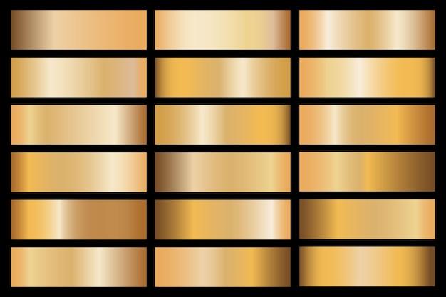 Campione di materiale metallico set sfumatura oro