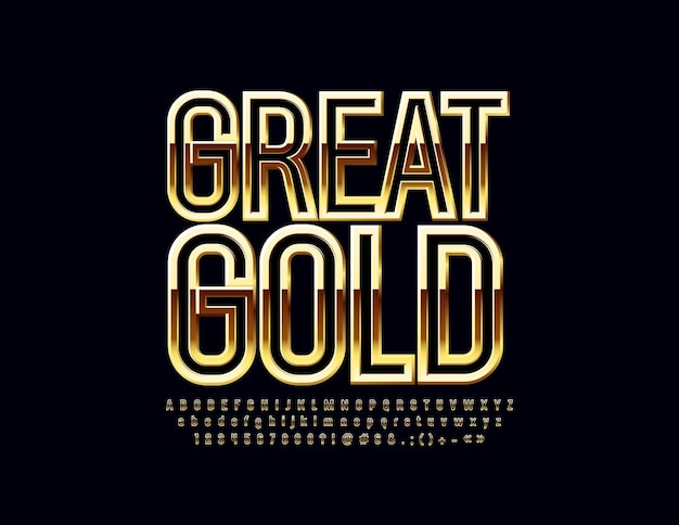 Grande carattere d'oro. lettere, numeri e simboli dell'alfabeto lucido chic.
