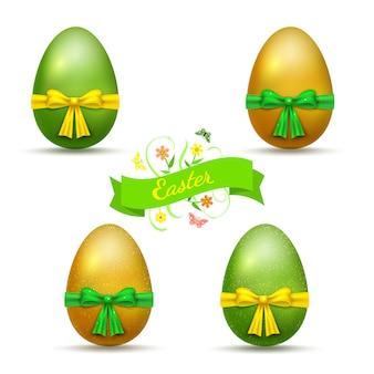 Le uova di pasqua realistiche verde dell'oro hanno messo con i nastri e gli archi