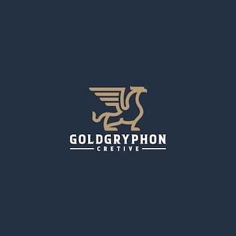 Logo art linea gryphon oro Vettore Premium