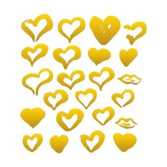 Cuori di pennello disegnati a mano in oro. illustrazione vettoriale di macchia di vernice grunge.
