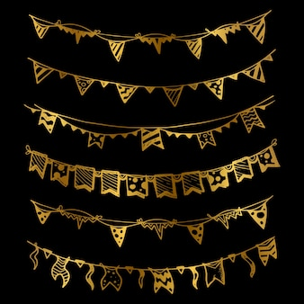 Ghirlande d'oro per le vacanze con lampadine, luci di festa e bandiere insieme illustrazione