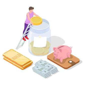 Lingotto d'oro, contanti, salvadanaio, uomo che mette la moneta del dollaro in un barattolo di vetro, illustrazione isometrica di vettore. investimento finanziario.