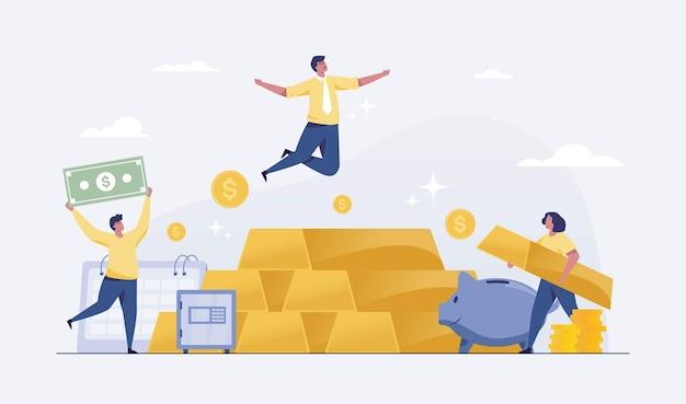 Investimento in oro nel concetto di successo finanziario. uomo d'affari gestore patrimoniale commercianti o investitori che si arricchiscono con l'oro. illustrazione vettoriale Vettore Premium