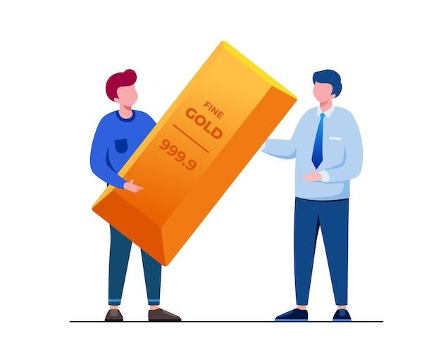 Illustrazione vettoriale piatta di investimento in oro per la pagina di destinazione del banner