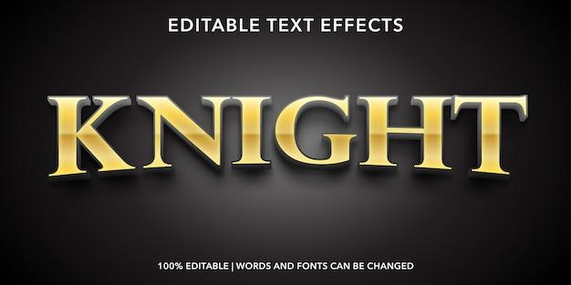 Effetto testo modificabile in stile testo cavaliere d'oro