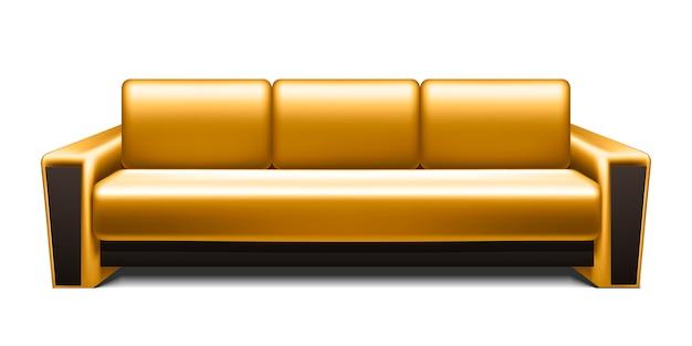 Divano in pelle oro isolato