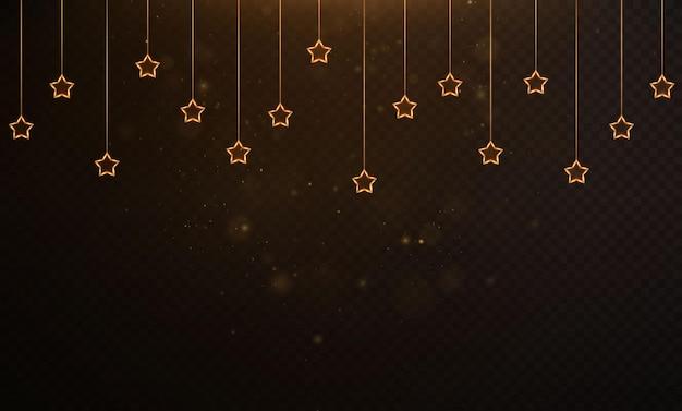 Ghirlanda festiva leggera d'oro con sovrapposizione di bokeh di polvere d'oro su sfondo trasparente