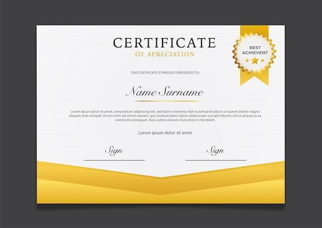 Modello di certificato di lusso in oro