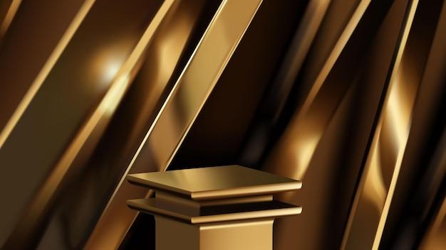 Piattaforma vuota di lusso d'oro o modello di scena del podio