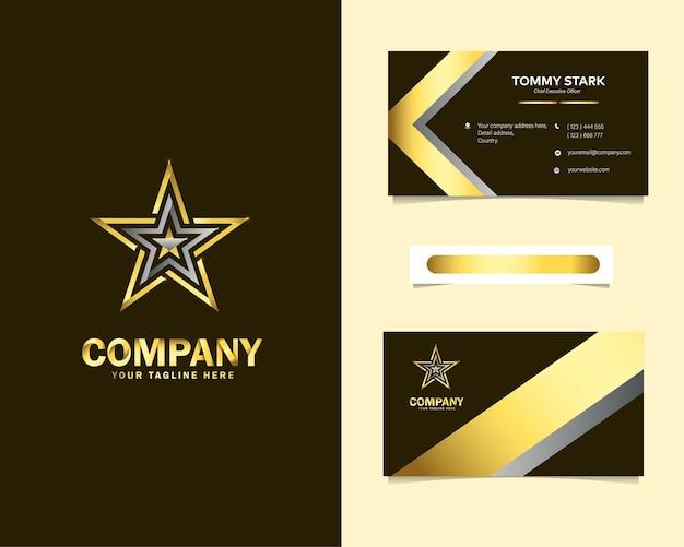 Gold luxury star logo design con modello di biglietto da visita di cancelleria
