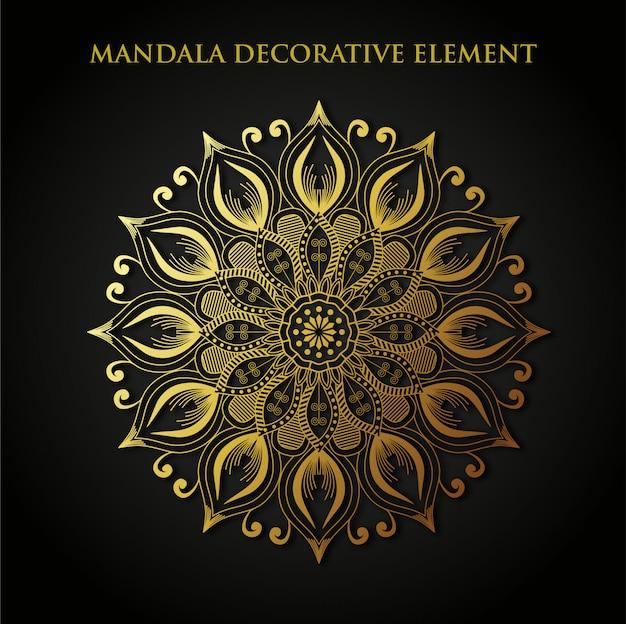 Vettore gratis dell'elemento decorativo dell'oro della mandala