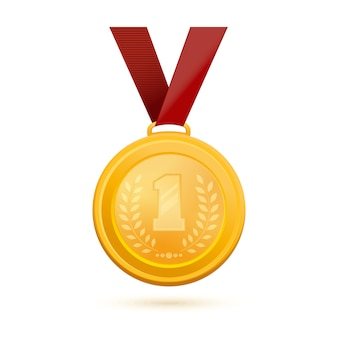 Medaglia d'oro per il primo posto. distintivo d'oro del primo posto. medaglia d'oro con l'immagine del numero 1 e un ramo d'ulivo. illustrazione