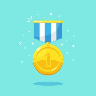 Medaglia d'oro per il primo posto. trofeo, premio, premio per il vincitore su sfondo blu. distintivo d'oro con nastro. realizzazione, vittoria, successo. illustrazione