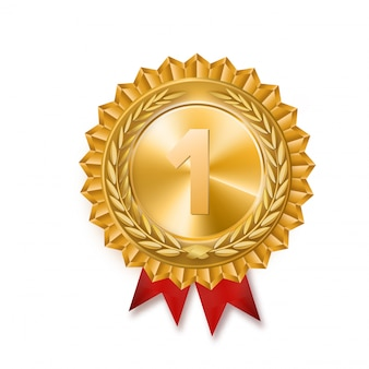 Medaglia d'oro. segno d'oro del 1 ° posto. fiocco rosso. isolato. ramo d'olivo. illustrazione di vuector.
