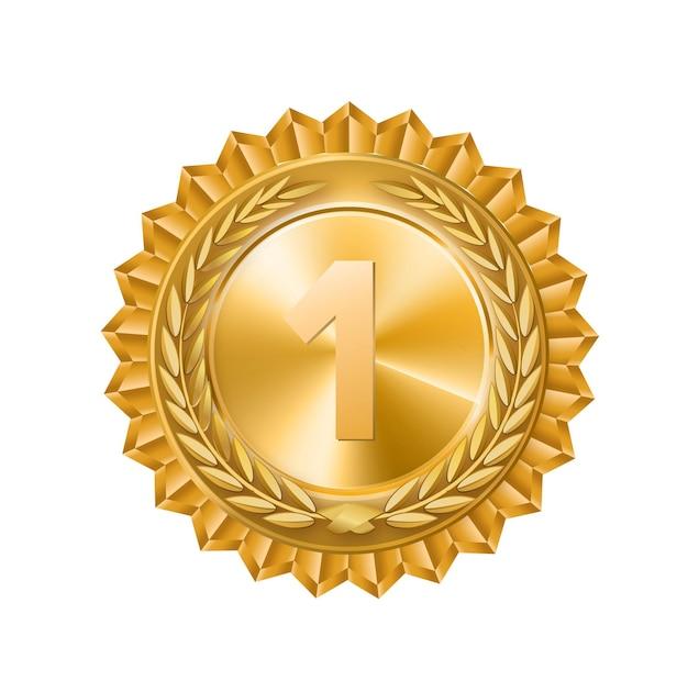 Medaglia d'oro segno d'oro del primo posto isolato ramo d'ulivo vuector illustrazione