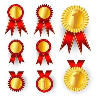 Medaglia d'oro . distintivo d'oro al 1 ° posto. sport gioco golden challenge award. fiocco rosso. realistico.