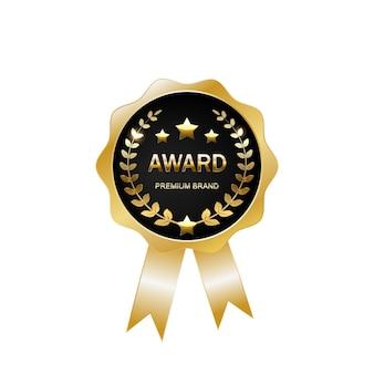 Medaglia d'oro vettoriale golden st place badge sport game golden challenge award nastro dorato isolato