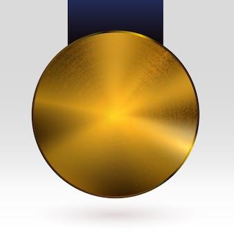 Medaglia d'oro con nastro scuro testurizzato cerchio piatto vuoto metallico mockup golden award trophy object