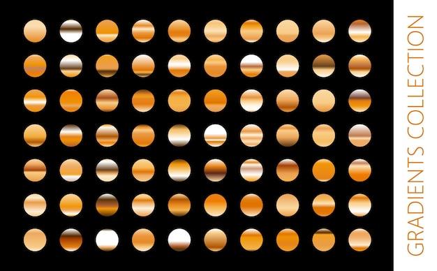 Collezione di sfumature in metallo dorato e set di texture in lamina d'oro. illustrazione lucida