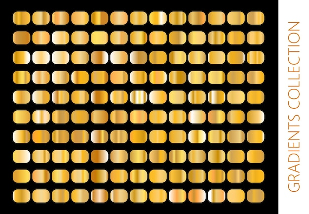 Collezione di sfumature in metallo dorato e set di texture in lamina d'oro