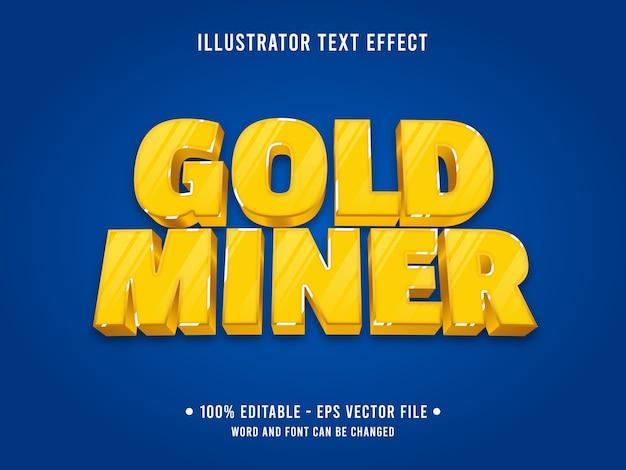 Modello di effetto testo modificabile minatore d'oro
