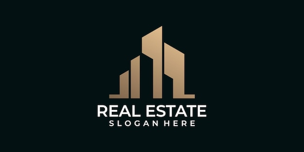 Design del logo immobiliare di lusso moderno in oro
