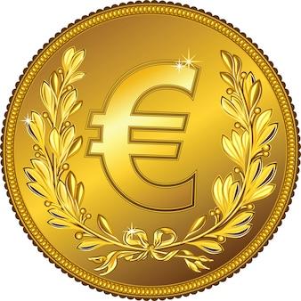 Moneta dell'euro dei soldi dell'oro con una corona di alloro