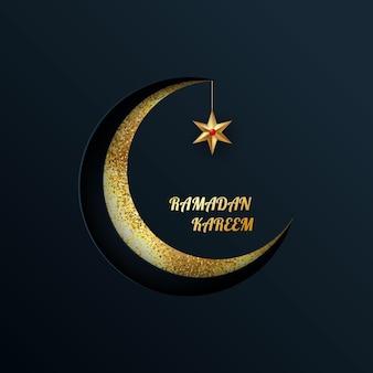 Luna d'oro con una stella su uno sfondo scuro