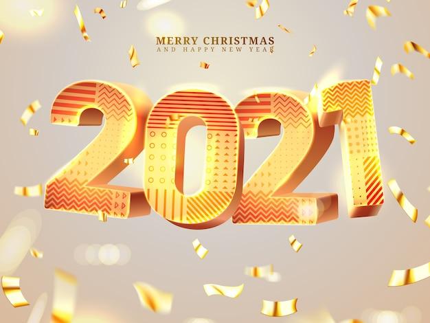 Numeri d'oro. anno nuovo e buon natale con coriandoli sinuosi che cadono