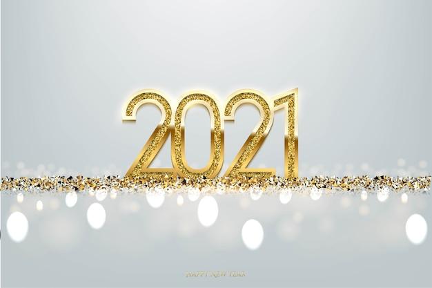 Numeri d'oro con sfondo glitter dorato