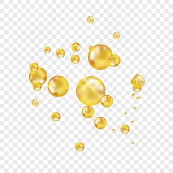 Bolle di olio d'oro su sfondo trasparente
