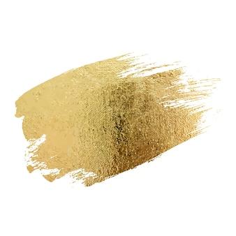 Set di macchie di striscio di vernice dorata con texture astratta glitter oro illustrazione d'arte