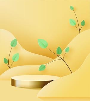 Piedistallo d'oro su giallo. podio 3d di tendenza sulle onde ritagliate di carta, con ramo di carta con foglie.