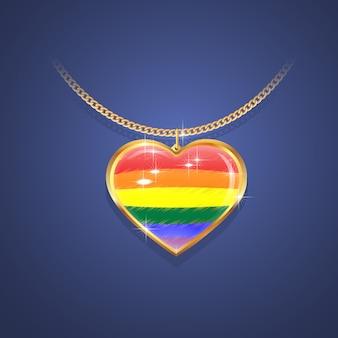 Pendenti in oro su catena d'oro con i colori della bandiera dell'orgoglio, simbolo lgbt.