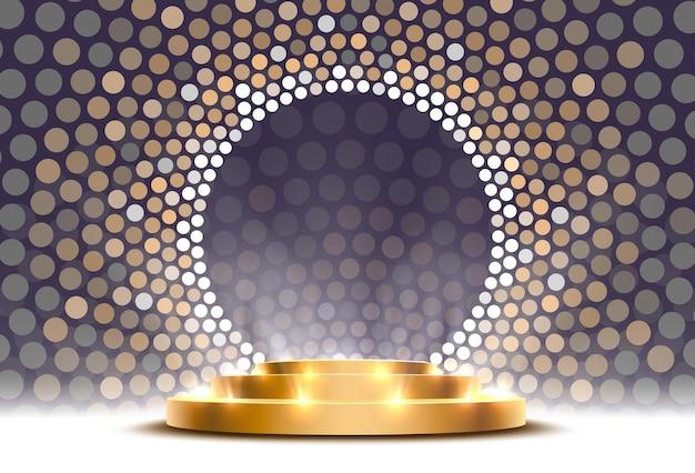 Il podio d'oro è vincitore o popolare su sfondo grigio