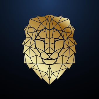 Testa di leone poligonale in oro ritratto geometrico di leone