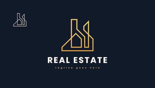 Gold real estate logo design con stile di linea. costruzione, architettura o costruzione di logo design