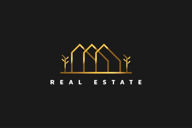 Logo immobiliare in oro in stile linea. modello di progettazione di logo di costruzione, architettura o edificio