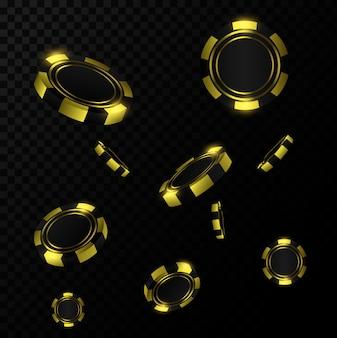 Chip d'oro realistici nell'aria. gioco da casinò online che gioca concetto 3d.