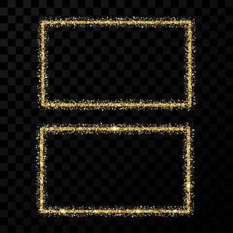 Cornice rettangolare dorata. due moderne cornici lucide con effetti di luce isolati su sfondo trasparente scuro. illustrazione vettoriale.