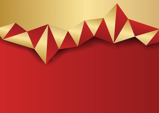 Fondo astratto oro e rosso. sfondo rosso astratto moderno con forme geometriche dorate. illustrazione dal vettore sul design moderno del modello per una sensazione dolce ed elegante